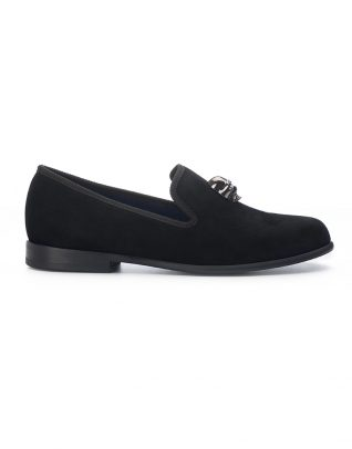 Duke & Dexter Black Velvet Loafers – Skull