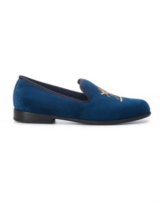 Duke & Dexter Blue Velvet Loafers – Simba