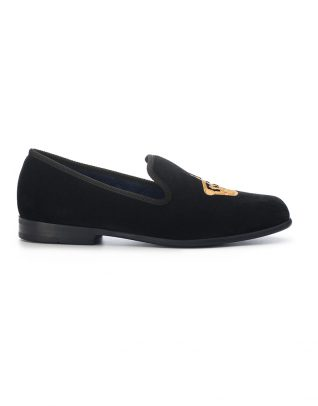 Duke & Dexter Black Velvet Loafers – Crown
