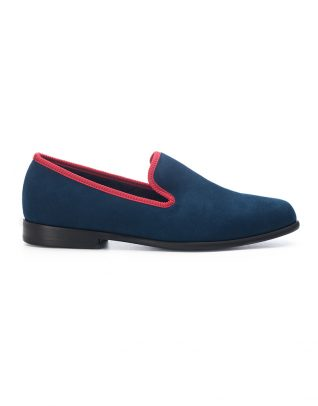 Duke & Dexter Blue with Red Trim Suede Loafers