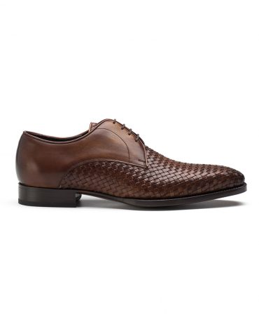 Andrés Sendra Woven Leather Brown Derby Shoe