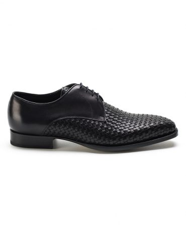 Andrés Sendra Woven Leather Black Derby Shoe
