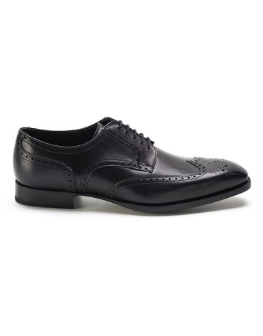 Andrés Sendra Wing Tip Medallion Black Derby Shoe