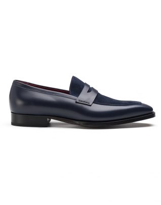 Andrés Sendra Blue Two Tone Penny Loafers