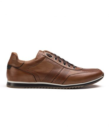 Magnanni Cognac Perforated Sneakers