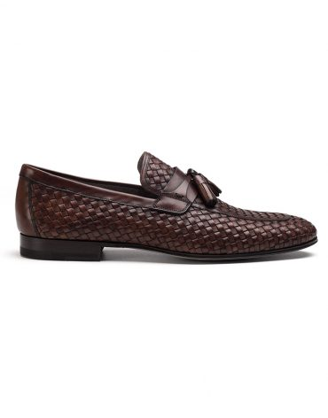 Magnanni Woven Brown Tassel Loafer
