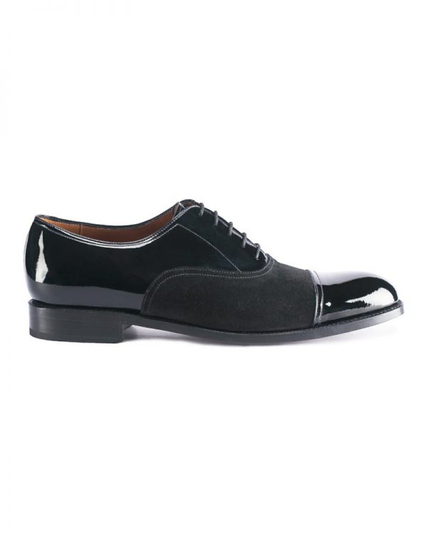 Andrés Sendra Patent Leather Captoe Suede Oxford