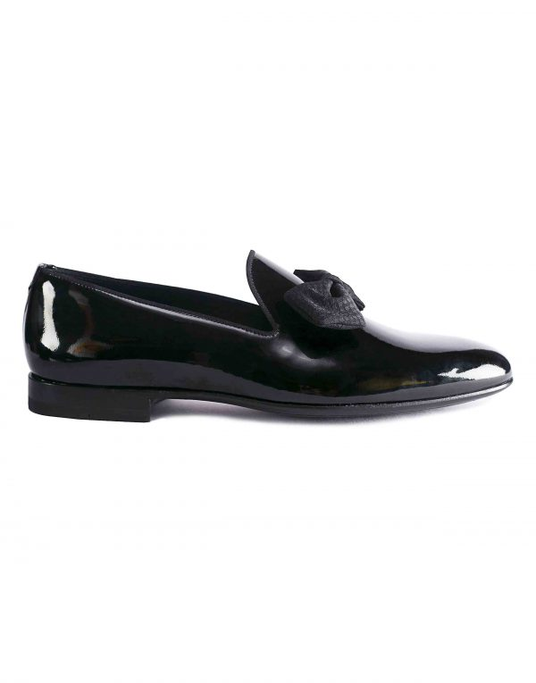 BLACK PATENT LEATHER BOW LOAFER1