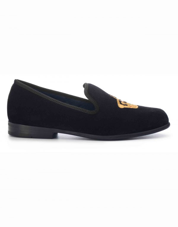 BLACK VELVET LOAFERS – CROWN1