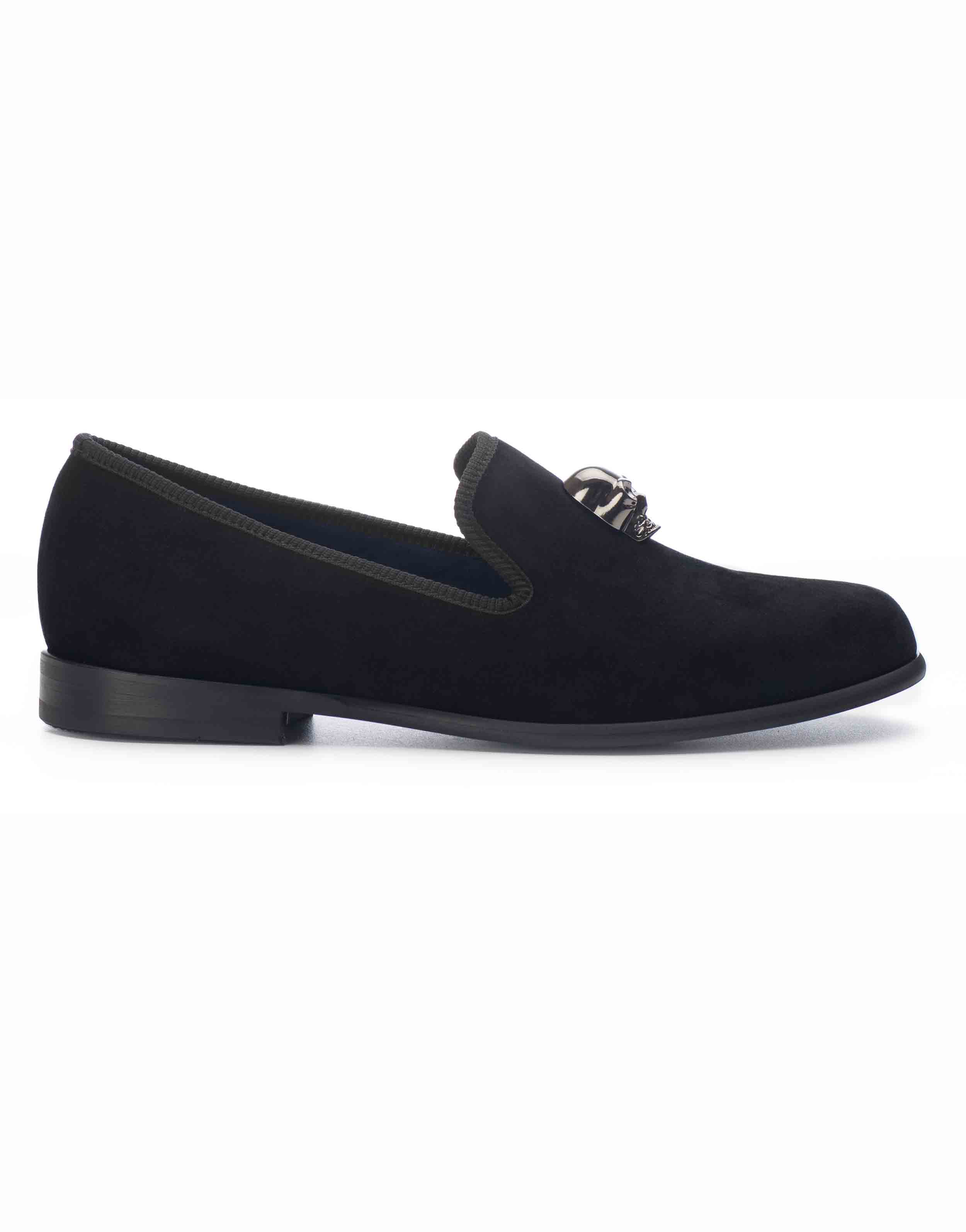BLACK VELVET LOAFERS – SKULL1