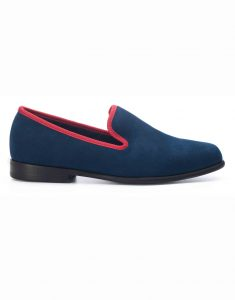BLUE WITH RED TRIM SUEDE LOAFERS1