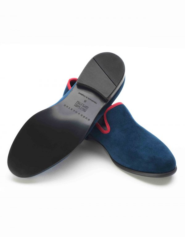 BLUE WITH RED TRIM SUEDE LOAFERS3