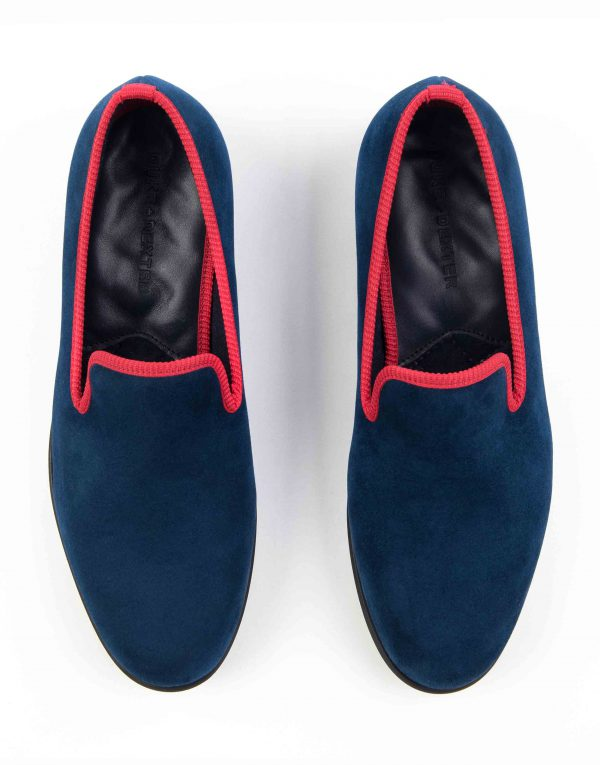 BLUE WITH RED TRIM SUEDE LOAFERS4
