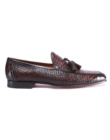 Magnanni Croc Leather Mid Brown Tassel Loafer