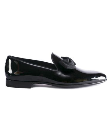 Magnanni Black Patent Leather Bow Loafer