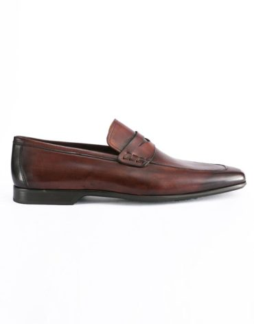 Magnanni Apron Toe Mid Brown Penny Loafer