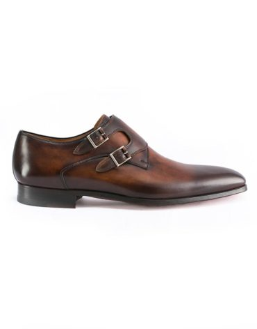 Magnanni Tabaco Triple Monk Whole Cut Shoes