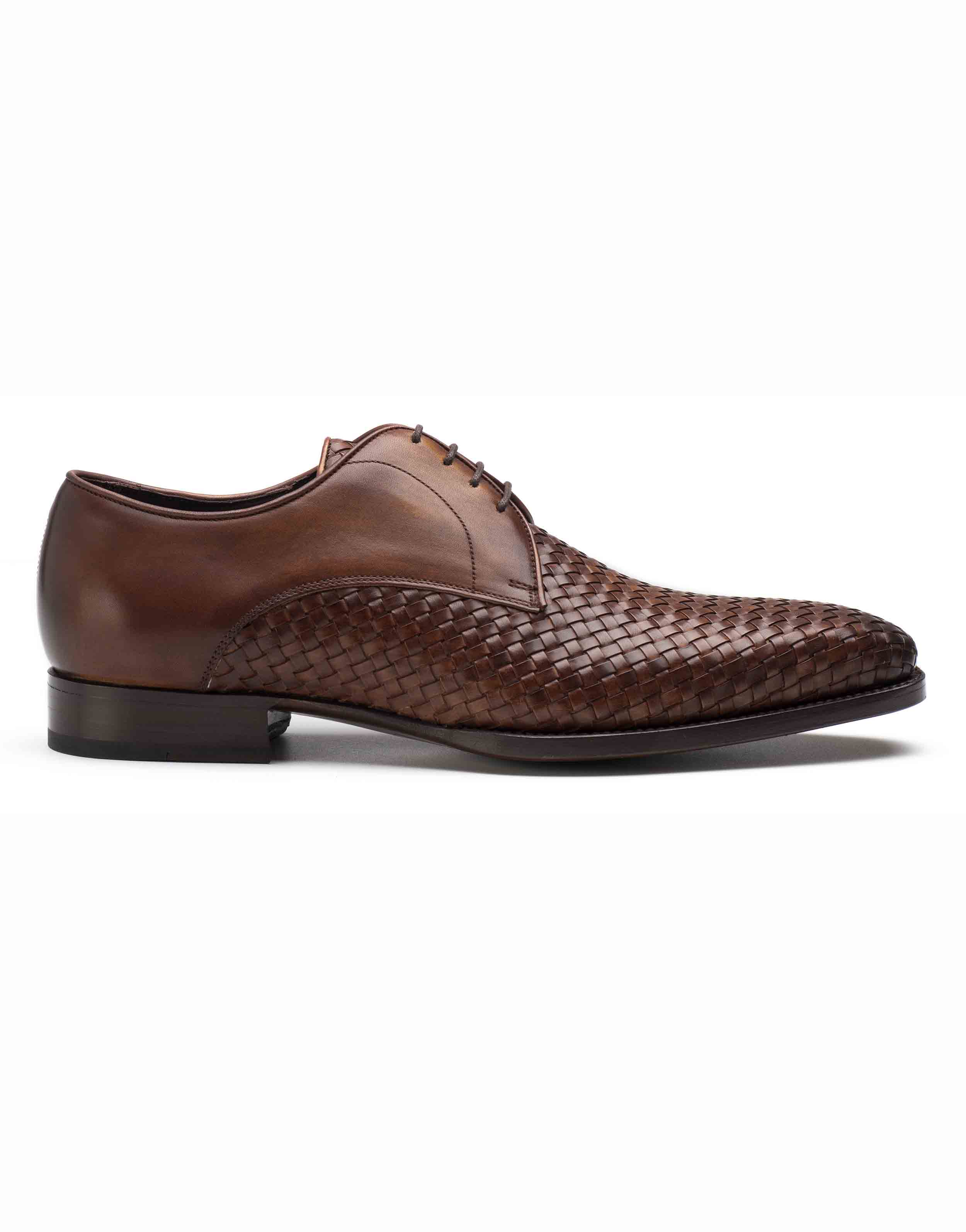 WOVEN LEATHER BROWN DERBY SHOE1