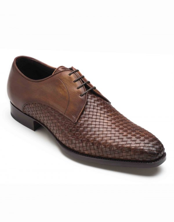 WOVEN LEATHER BROWN DERBY SHOE2