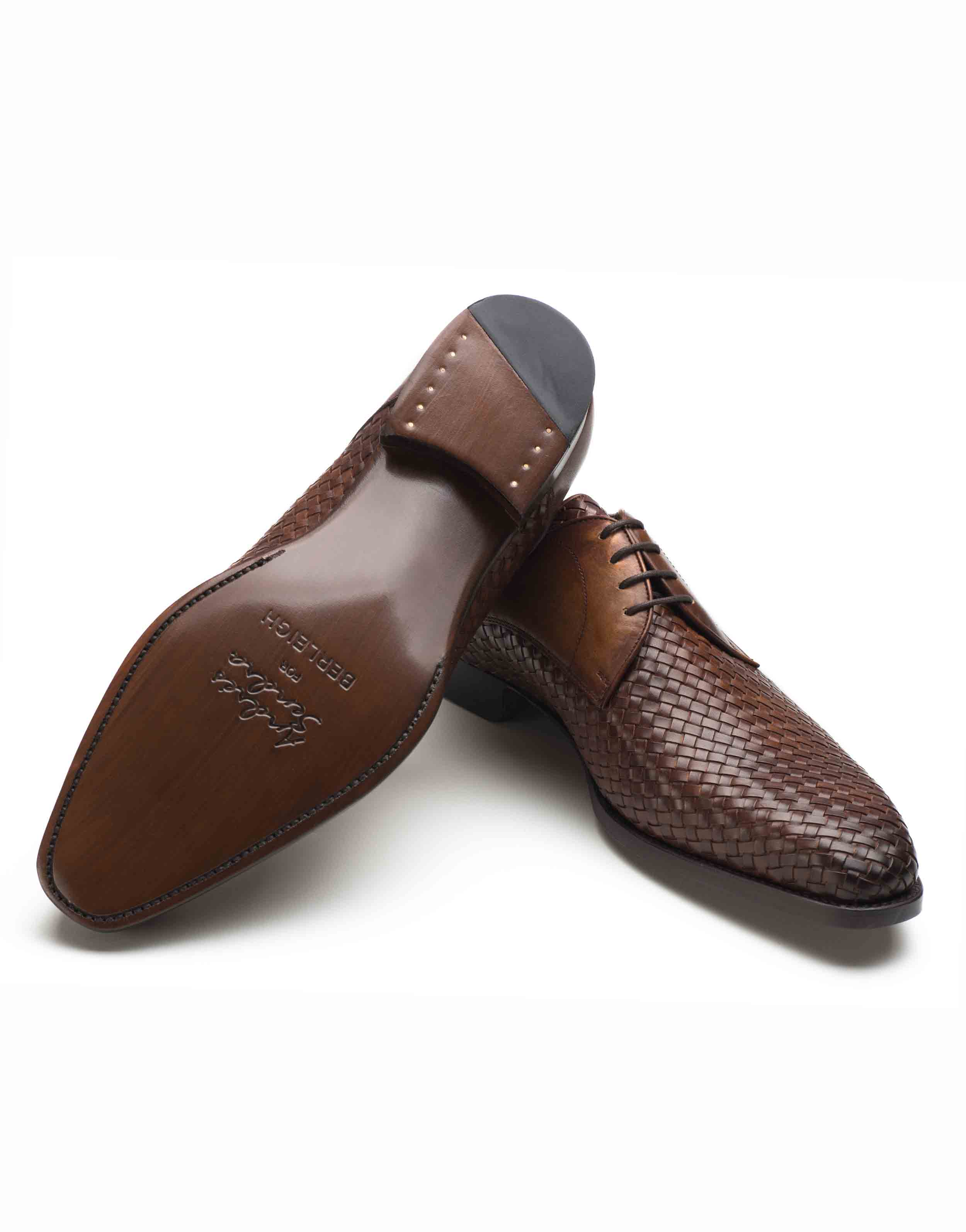 WOVEN LEATHER BROWN DERBY SHOE3