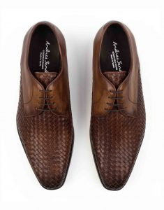WOVEN LEATHER BROWN DERBY SHOE4