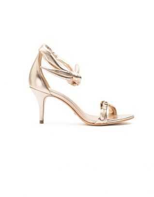 Schutz Open-Toe Gold Knotted Bow Stilettos