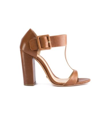 Schutz The Wide Buckled-Up Ankle T-Strap Block Heel Sandals
