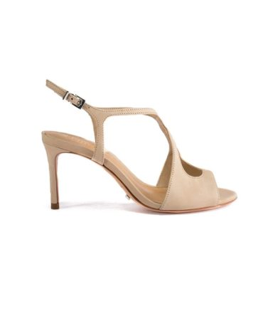 Schutz Leather Finish Nude Criss Cross Peep -Toe Stilettos