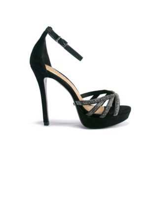 Schutz Embellished Platform Black Sandals