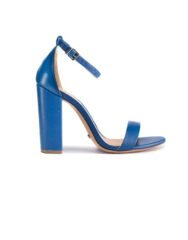 Schutz Bare-All Block Heel Leather Blue Sandals