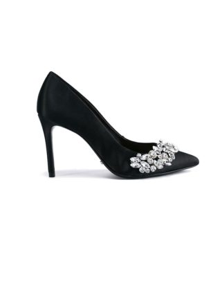 Schutz Encrusted Black Evening Pumps