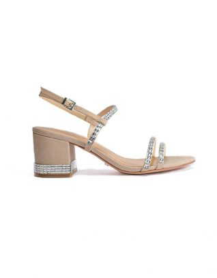 Schutz Rhinestone Encrusted Tan Block-Heel Evening Sandals