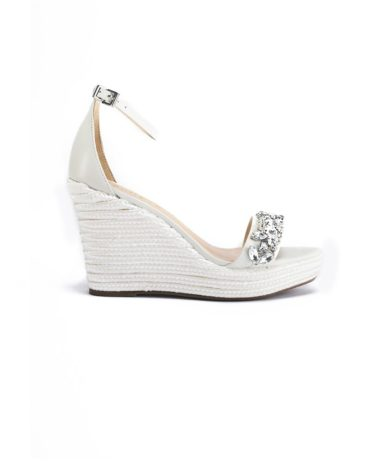 Schutz Rhinestone Encrusted Espadrille White Wedge Sandals