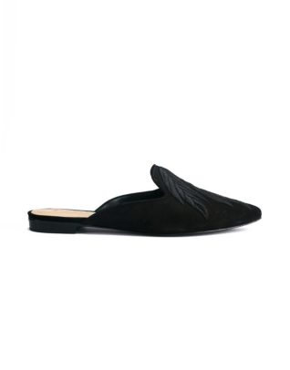 Schutz Pointed Toe Slip-On Black Loafer Mules