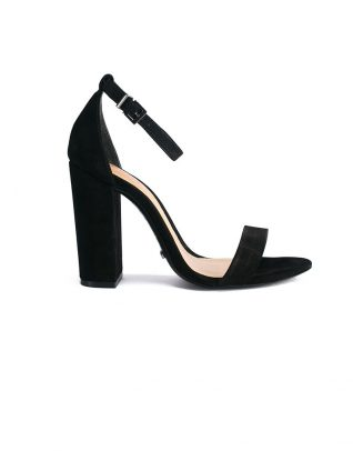 Bare-All Block Heel Suede Black Sandals