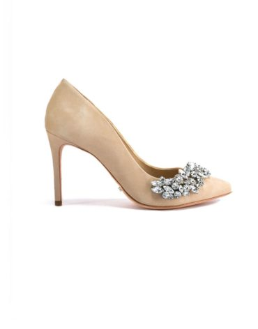 Schutz Encrusted Beige Evening Pumps