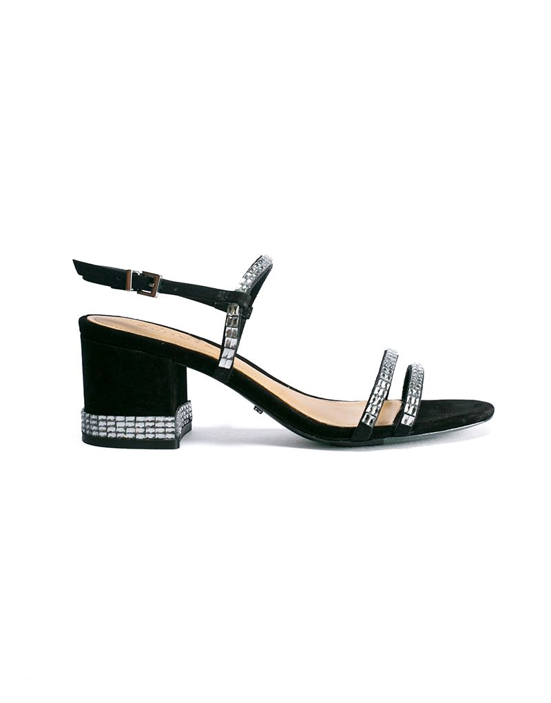 Schutz Rhinestone Encrusted Black Block-Heel Evening Sandals - Berleigh