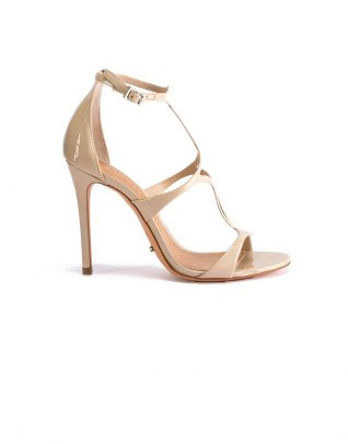 Schutz High-Ankle Tan Strapup Stilettos