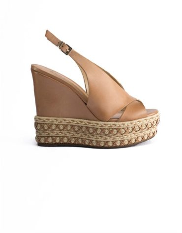 Schutz Leather Finish Slingback Peep-Toe Espadrille Wedge