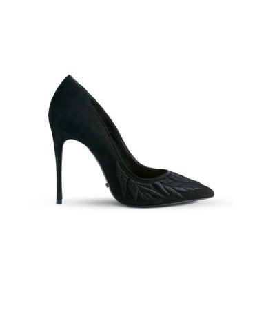 Schutz Camouflaged Leaves Suede Black Pumps