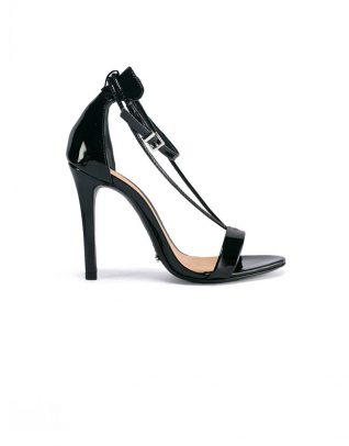 Schutz Dual T-Strap High Heel Black Stilettos