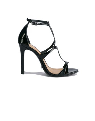 Schutz High-Ankle Black Strapup Stilettos
