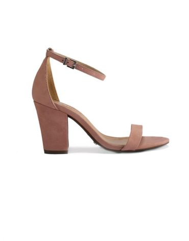 Schutz Bare-All Block Heel Suede Pink Sandals