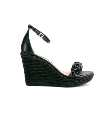 Schutz Rhinestone Encrusted Espadrille Black Wedge Sandals