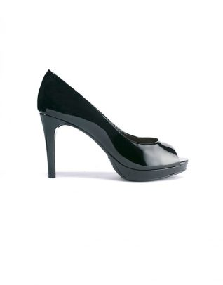 Schutz Black Wrapped Platform Peep Toe