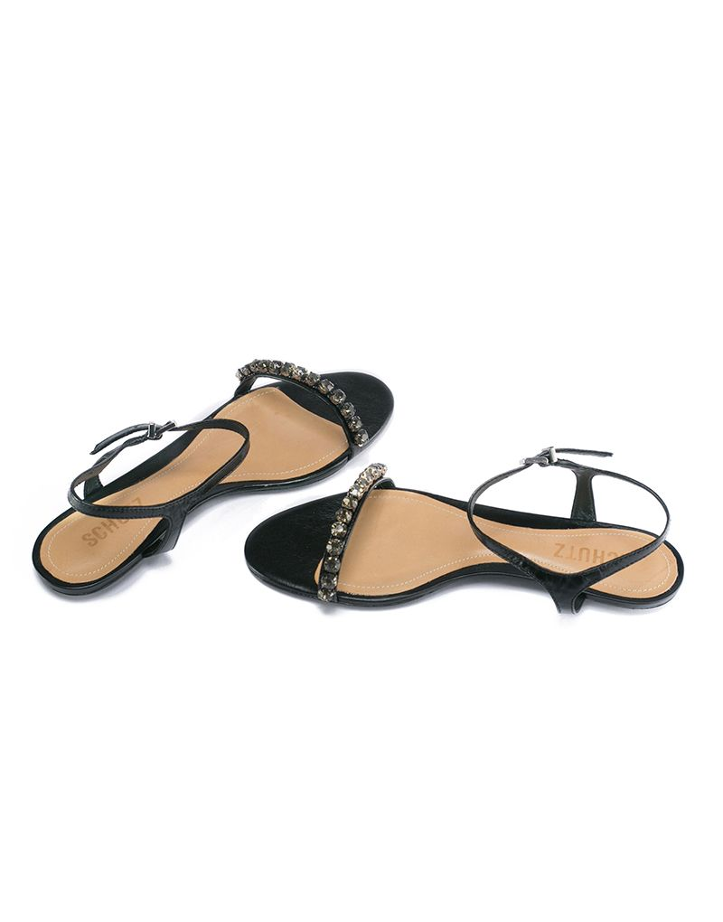 e1cd6c2a943 Schutz Black Pearl Studded Flat Sandals - Berleigh