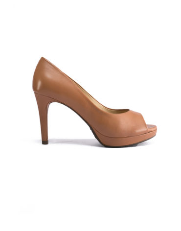 Schutz Brown Wrapped Platform Peep Toe