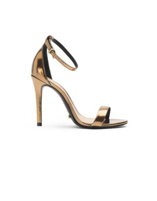 Schutz Bare-All Ankle Strap Bronze Stilettos