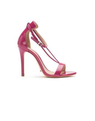 Schutz Dual T-Strap High Heel Rose Stilettos
