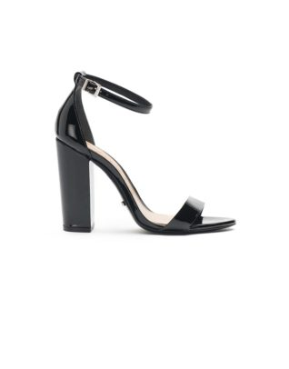 Schutz Bare-All Block Heel Leather Black Sandals